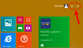 Windows 8 power button on start screen